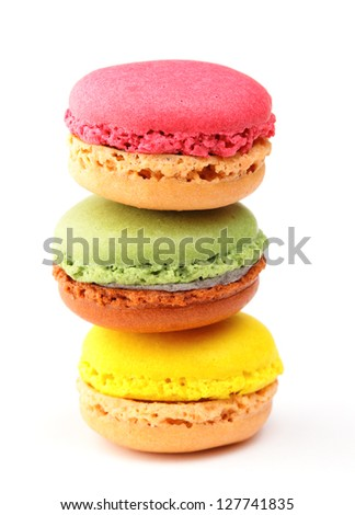 Colorful Macaron in close up - stock photo