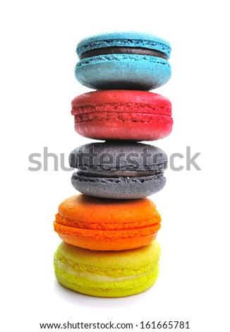 colorful macarons isolated on white backrgound - stock photo