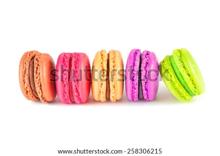 colorful macarons on white background - stock photo