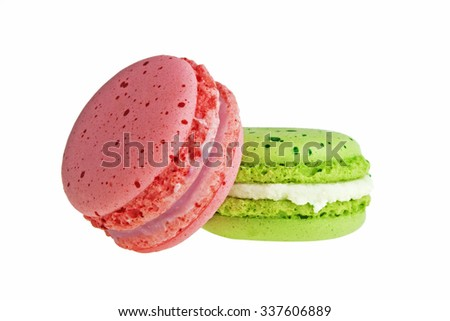 Colorful macaroon isolated on white background - stock photo