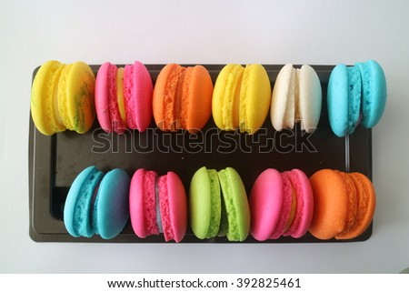 Colorful macaroon on the white background