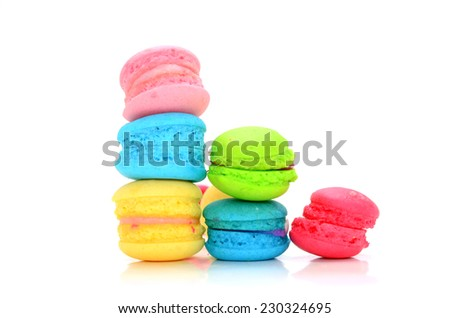 colorful macaroon on the white backround