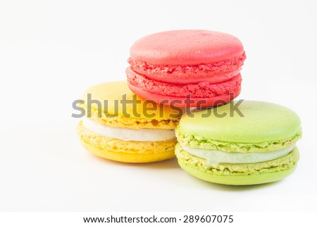 Colorful macaroon stack isolated on white background - stock photo