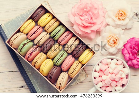 Colorful Macaroons Gift Box Marshmallow Coffee Stock Photo ...