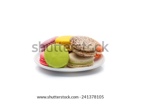 colorful macaroons on a white background - stock photo