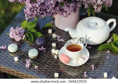 Colorful macaroons with cup of tea in the garden, selective focus