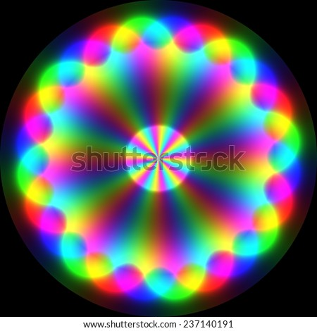 Colorful magical symbol with spectral waves on black background - stock photo