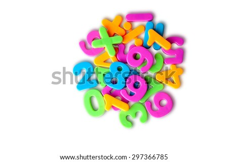 Colorful magnetic digits on refrigerator