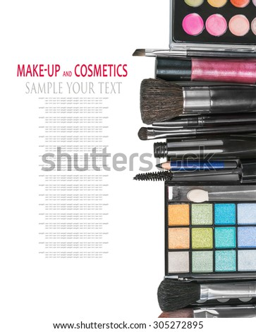 Colorful make-up products isolated on a white background. - stock photo