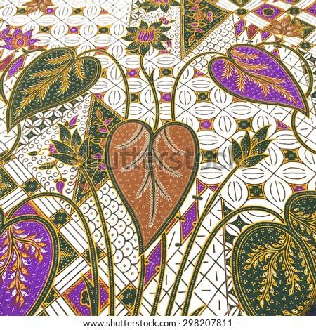 Colorful malaysia silk handcraft peruvian style rug surface close up - stock photo