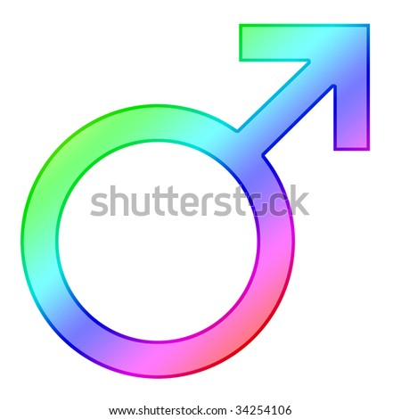 colorful male symbol on a white background - stock photo
