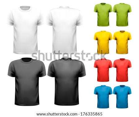 Colorful male t-shirts. Design template. Raster version - stock photo