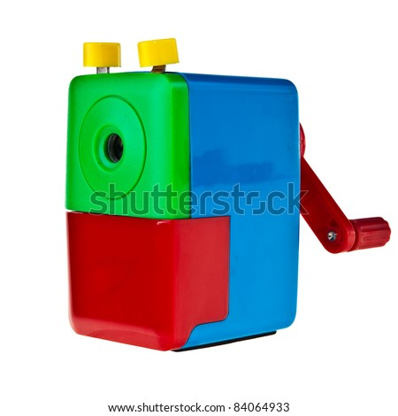 Colorful manual crayon sharpener isolated over white background. - stock photo