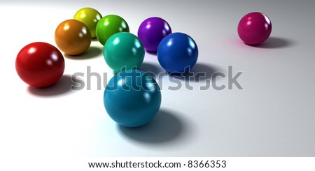 Colorful marbles on a white  background with a plastic matt appearence
