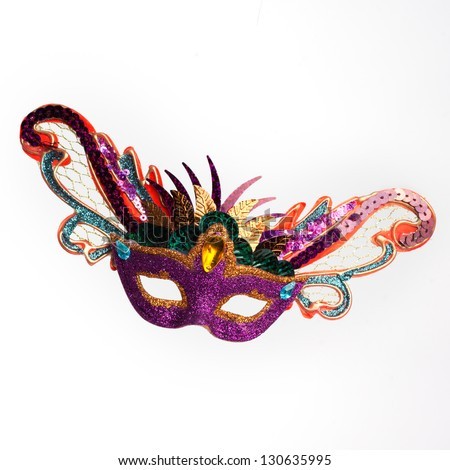 Colorful Mardi Gras Mask isolated on white background - stock photo