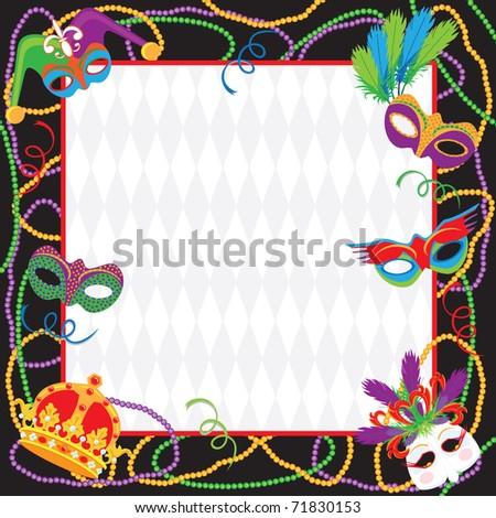 colorful mardi gras party invitation copy stock illustration, Birthday invitations