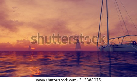 Colorful marine scenery - sailboats silhouettes against the setting sun. Realistic 3D illustration was done from my own 3D rendering file.