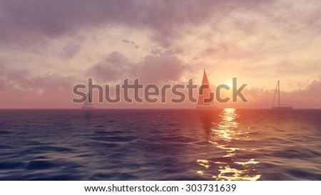Colorful marine scenery - yachts silhouettes against the rising sun background. Realistic 3D illustration was done from my own 3D rendering file.