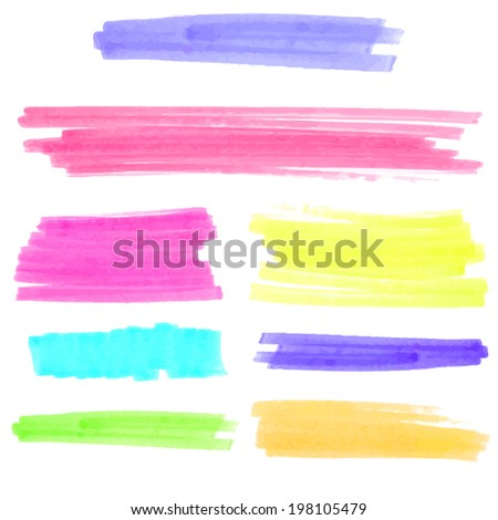 Colorful marker lines and stains. Raster textured design elements isolated on white background. - stock photo