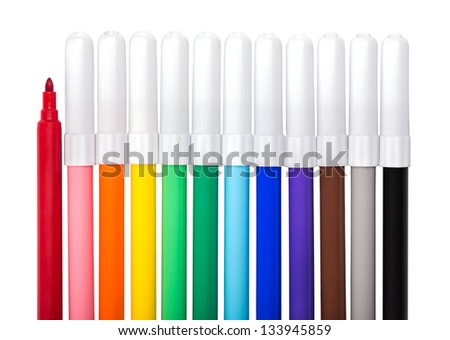 Colorful markers. Isolated on white.
