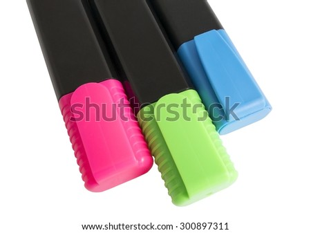 Colorful markers pens isolated on white background - stock photo