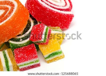 colorful marmelade and empty space for your text - stock photo