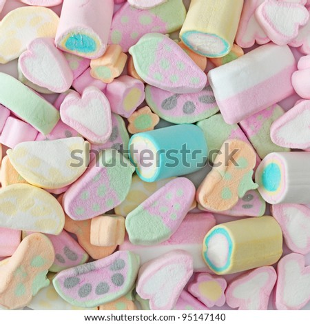 Colorful marshmallow close up - stock photo
