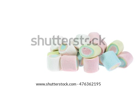 colorful marshmallows candy  on white background