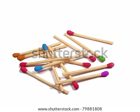 Colorful matchsticks isolated on white - stock photo
