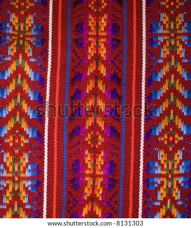 Colorful Mayan Cloth Pattern from Chiapas, Mexico