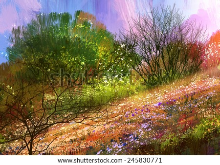 colorful meadow,landscape digital painting - stock photo