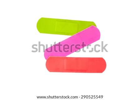 colorful medical adhesive bandages - stock photo