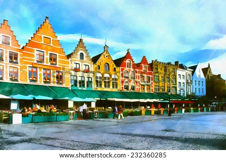 Colorful medieval buildings at square of Bruges illustration - stock photo