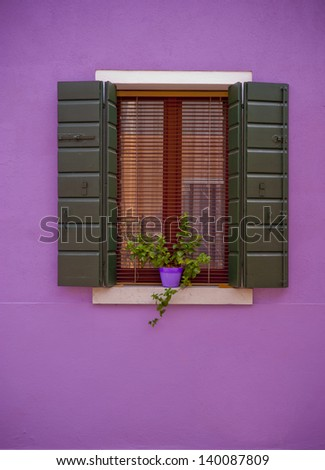 Colorful mediterranean window of Burano island, Venice, Italy - stock photo
