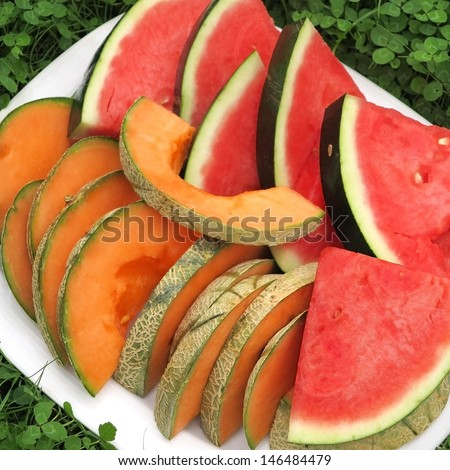 Colorful melon on a plate