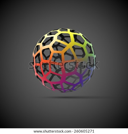 Colorful mesh sphere. - stock photo