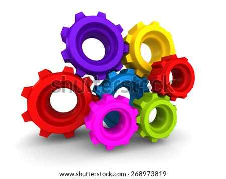 Colorful Metal Gears And Cogwheels On White Background. 3d Render Illustration - stock photo