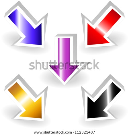 Colorful metallic pointing arrows, 3d with shadows, perfect for emphasis effects or as a sign or background.