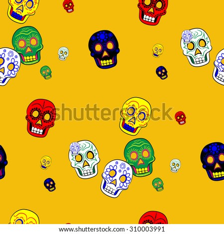 Colorful Mexican Day of the Dead Seamless Pattern Dia de Los Muertos Festival - stock photo