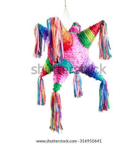 Colorful mexican pinata used in birthdays isolated on white - stock photo