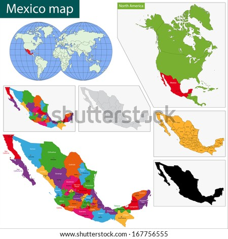 Colorful Mexico map with state borders and capital cities - stock photo