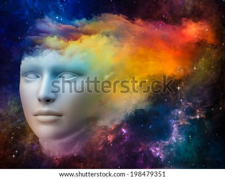 Colorful Mind series. Abstract design made of human head and fractal colors on the subject of mind, dreams, thinking, consciousness and imagination - stock photo