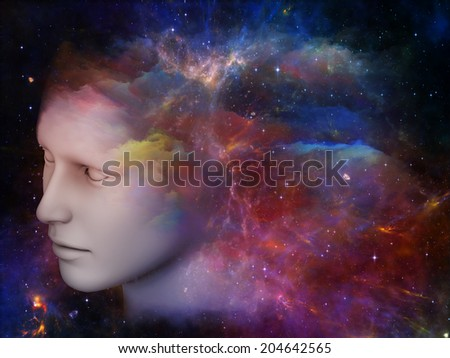 Colorful Mind series. Arrangement of human head and fractal colors on the subject of mind, dreams, thinking, consciousness and imagination - stock photo