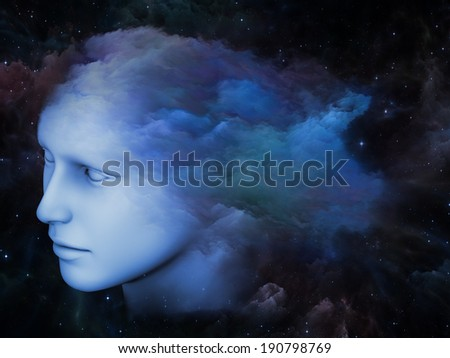 Colorful Mind series. Design made of human head and fractal colors to serve as backdrop for projects related to mind, dreams, thinking, consciousness and imagination - stock photo