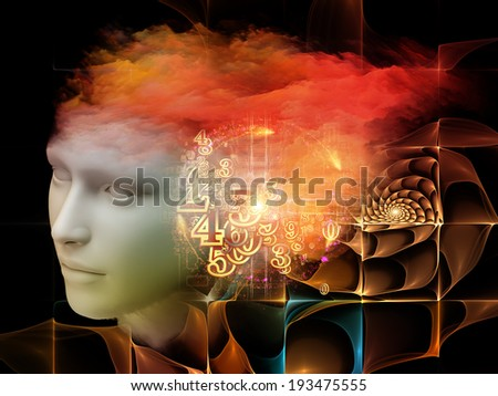 Colorful Mind series. Interplay of human head and fractal colors on the subject of mind, dreams, thinking, consciousness and imagination