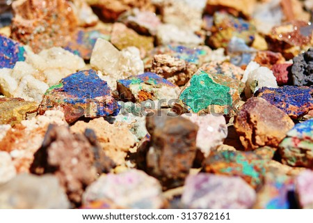 Colorful minerals on Moroccan market - stock photo