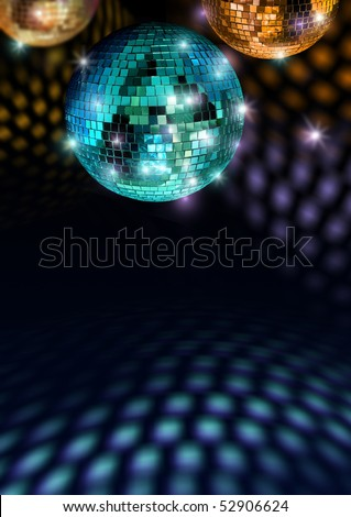 Colorful mirror balls reflect light on disco ceiling and floor - stock photo