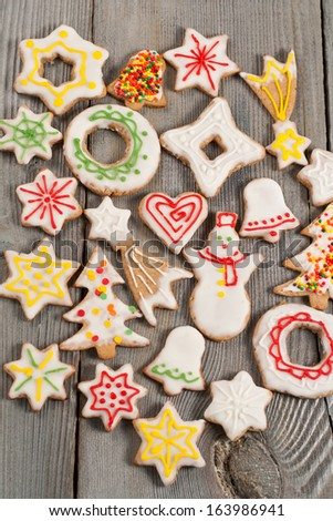 Colorful mix of Christmas decorated cookies - stock photo