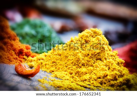 Colorful mix of oriental spices - stock photo