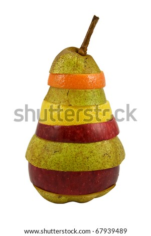 colorful mixed fruits over a white background